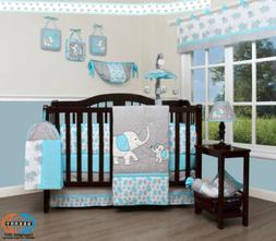 13PCS Blue Grey Elephant Baby Nursery Crib Bedding Sets  Hol