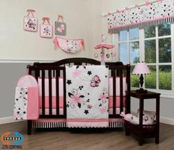 13PCS New Pink Butterfly Baby Nursery Crib Bedding Sets  Hol
