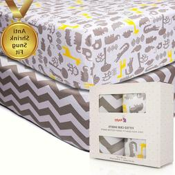 2PK Crib Fitted Sheets Anti-Shrink 100% Soft Cotton Jersey K