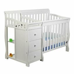 Pemberly Row 4-in-1 Mini Convertible Crib and Changer in Whi
