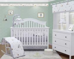 6-Piece Forest Fox Grey Baby Boy Girl Nursery Crib Bedding S