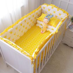 6Pcs Cotton Baby Bedding Set Nursery Crib Bumper Bed Sheet P