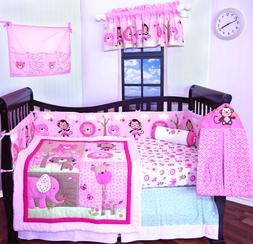 9 pieces Baby Girl crib bedding nursery set, Giraffe and Fri