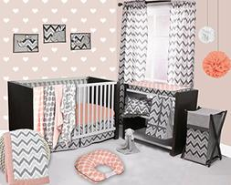 Bacati - Coral/Grey Ikat Chevron Muslin 10 Pc Crib Set with