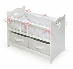 Badger Basket White Rose Doll Crib with Two Baskets