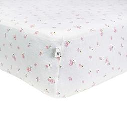 Burt's Bees Baby - Butterfly Garden Fitted Crib Sheet, 100%