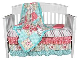 Gia Floral Coral/Aqua 4-in-1 Baby Girl Bedding Set by The Pe