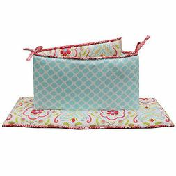 Gia Floral and Ogee Coral and Aqua Baby Girl Crib Bumper