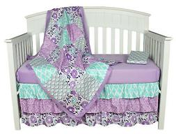 Purple Baby Bedding, Zoe 4-in-1 Bedding Set by The Peanut Sh