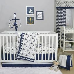 Anchor Nautical 3 Piece Baby Crib Bedding Set in Navy Blue b