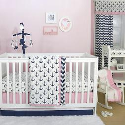 Anchor Nautical 3 Piece Baby Crib Bedding Set in Pink / Navy