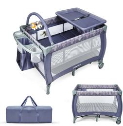 Baby Bassinet With Storage Infant Nursery Crib Portable Slee
