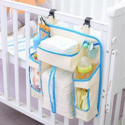 Baby Bed Hanging Storage Bag Mesh Crib Organizer Toy Diaper