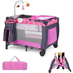 Baby Cot Travel Crib Infant Folding Playpen With Toys Pink P