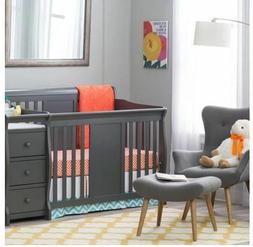 Baby Crib Changing Table Set Gray Infant Nursery Furniture W