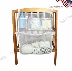 Baby Crib Clothes Diaper Organizer Mesh Bag Nursery Bedside
