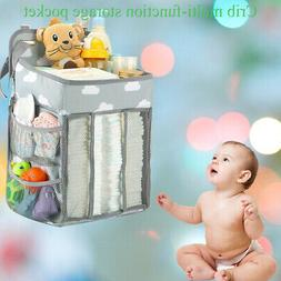 Baby Crib Cot Bed Bedside Hanging Storage Bag Diaper Nappy O