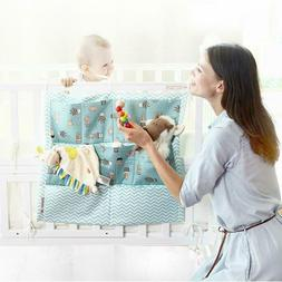 Baby Crib Cot Bed Storage Bag Hanging Pocket Diaper Nappy Cl