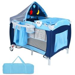 Baby Crib Foldable Playpen Infant Bed Bassinet Portable Newb