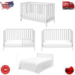 Baby Crib to Toddler Bed 4 in 1 Convertible White Child Slee