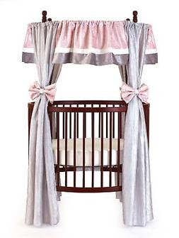 Baby Doll Bedding Crocodile Round Crib Curtain Set, Pink, 12