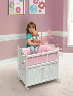 Baby Doll Crib With Cabinet Bedding Mobile Toddler Girls Xma