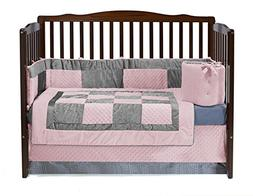 Baby Doll Bedding Croco Minky Crib Set, Pink/Grey