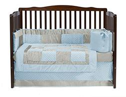 Baby Doll Bedding Croco Minky Crib Set, Blue/Ivory