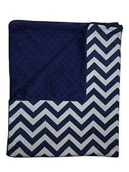 Baby Doll Bedding Minky Chevron Crib Comforter, Navy