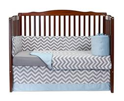 Baby Doll Bedding Minky Chevron 4 Piece Crib Bedding Set, Bl