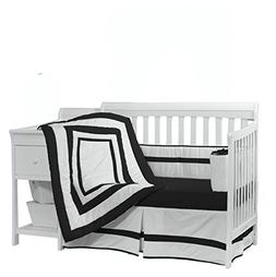 Baby Doll Bedding Modern Hotel Style Crib Bedding Set, Black