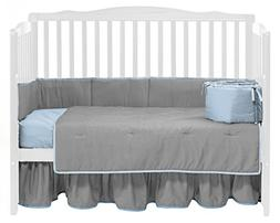 Baby Doll Bedding  Solid Reversible Crib Bedding Set, Grey/B