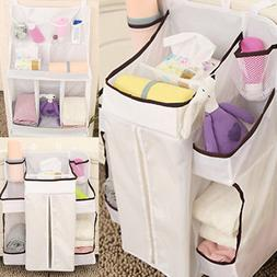 Baby Nursery Crib Bed Diaper Organizer Clothes Hanging Holde