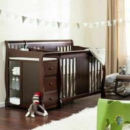 Baby Nursery Crib Changing Table Set Infant Furniture Wood T