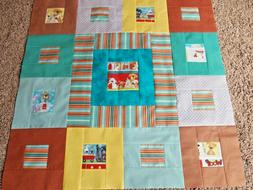 """Baby Quilt Top Boy or Girl, 39.5"""" square, Nursery, Crib, Tod"""