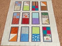 """Baby Quilt Top for a Boy, 36"""" x 34.5"""", Nursery, Crib, Toddle"""