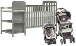 Dream On Me 4-in-1 Full Size Baby Crib Changing Table with S