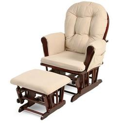 Beige Bowback Nursery Baby Glider Rocker Chair with Ottoman,