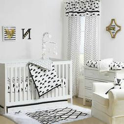 Black and White Cloud Print 3 Piece Baby Crib Bedding Set by
