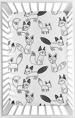 Black and White Woodland Fox Baby or Toddler Fitted Mini Por