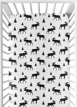 Sweet Jojo Designs Black and White Woodland Moose Baby or To