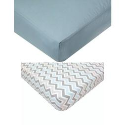 American Baby Company Blue Fitted Crib Sheet Bundle