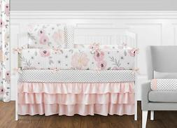Sweet Jojo Designs 9-Piece Blush Pink, Grey and White Shabby