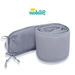 Breathable Mini Crib Bumpers Padded  for Baby Crib 1-Piece S