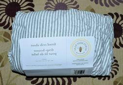 Burts Bees Baby Fitted Crib Sheet Gray Striped 100% Organic
