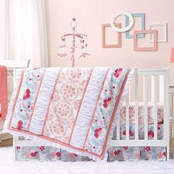 Camilla Coral and Blue Baby Crib Bedding - 20 Piece Nursery
