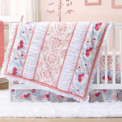 Camilla Coral Floral Flowers 3 Piece Baby Crib Bedding Set b
