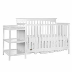 Dream On Me Chloe 5-in-1 Convertible Crib with Changer, Whit