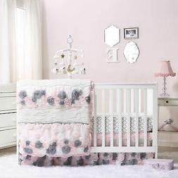 Colette Pink/Grey Floral Baby Crib Bedding - 20 Piece Nurser