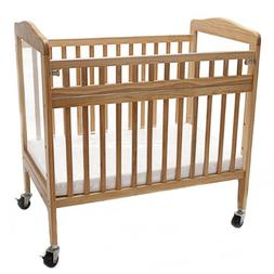 LA Baby Compact Non-folding Wooden Window Crib with Safety G